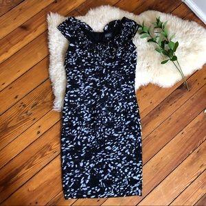 Adriana Papell💕Layered Modern Spot Print Dress 8